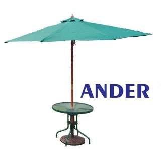 Glass round table+Sun umbrella+Bottom Chasis