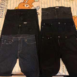 6條95% new Uniqlo slim fit jeans 35/39