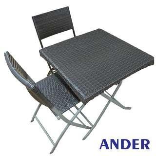 Square wicker desk & chair