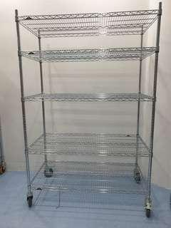 Stainless steel storage rack.