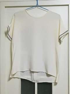 外單正品100%Silk全新白色眞絲上衣