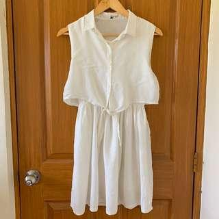 Sleeveless Linen White Dress