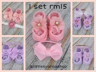 Baby Girl Shoes and headband set