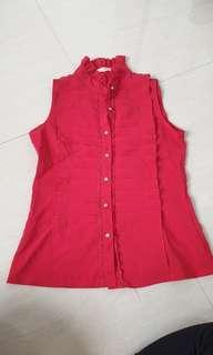 Red ruffle sleeveless top