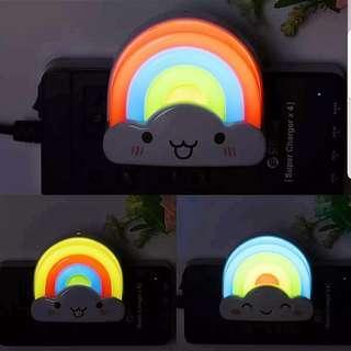 (Incl Postage & Remote Control for light) Happy Rainbow Night Light Baby Feeding Sleeping Diaper Change Children Nursery Decorations Fairy Lights Lighting