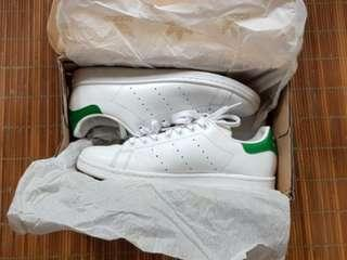 BNIB ADIDAS STAN SMITH ORIGINAL WHITE GREEN SEPATU SNEAKERS (BARU)