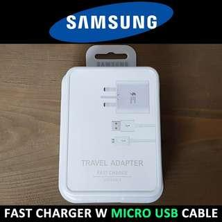 Original Samsung Fast Charger + Micro USB Cable Set - White
