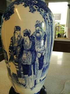 Qing period blue n white vase lamp stand