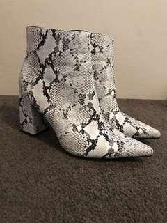 Faux snake skin heeled boots