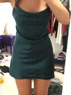 Emerald green cowell-neck dress