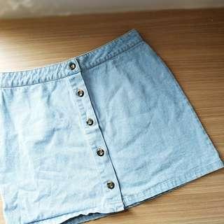 Forever 21 Denim Button Mini Skirt Size L Rok Jeans Besar Ori Preloved #paydaymaret
