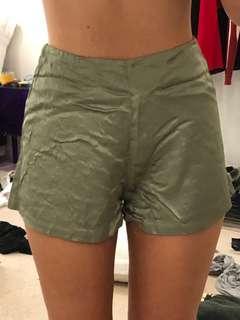 Light green silk shorts