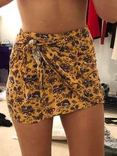 Yellow floral print wrap skirt