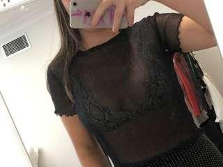 Black sparkly mesh top