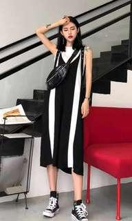🚚 street style black and white overalls