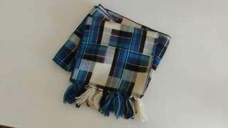 藍色格子圍巾