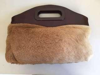 Clutch bag, handbag, kangaroo fur, genuine leather, fur handbag, leather handbag, vintage, collectible