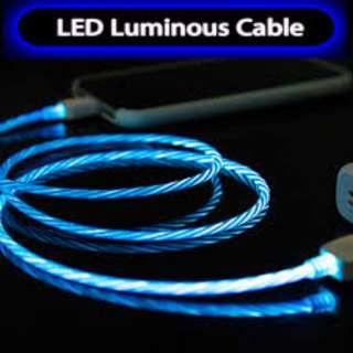 🚚 Type C/Lightning/microUSB Flowing LED Charging Cable
