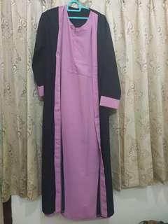 Gamis / abaya wolfis hitam - pink