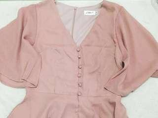 Harmony Button Blouse (Dusty Pink)