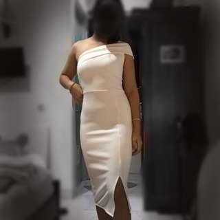 White bodycon midi slit dress sabrina one shoulder