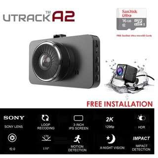 2 CH Dash Cam / Car Camera - FREE INSTALLATION Front and Rear Dual Camera, Superior Night Vision 1296P HD, Large Screen Car Camera, Car Video Recorder With G-sensor, Loop Recording, Motion Detection