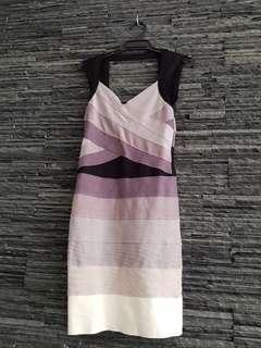 M girl stretchy dress. Grey and white. Size S.