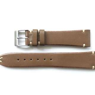 🚚 18mm/22mm Vintage Style Double Stitched Chestnut Brown Leather Watch Strap