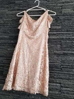 Mariana Hardwick Ready to Wear Collection pink sequin mini dress size XS