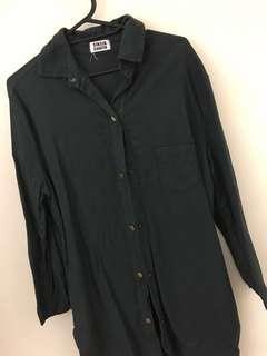 🚚 墨綠色襯衫長版外套