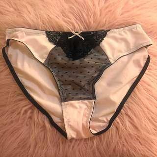 Pastel Pink with Black Lace Microfibre Underwear