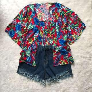 NEW ‼️ floral set (tube top + outer) ~ setelan motif bunga biru merah kemben luaran pakaian pantai