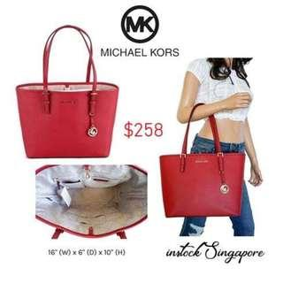 51595f9c4e9b READY STOCK authentic new MICHAEL Michael Kors Jet Set Travel open top Tote  saffiano