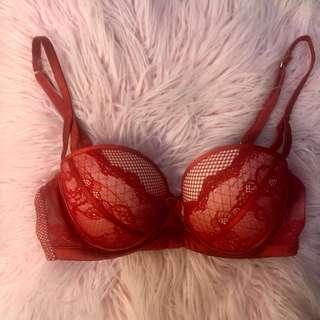 Red Lace Push Up Balconette Bra
