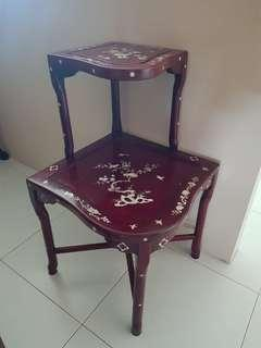 2tier corner rosewood table 45x45x77cm