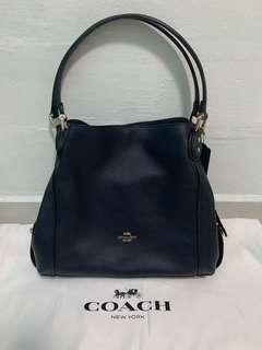 Coach Handbag black leather with gold hardware