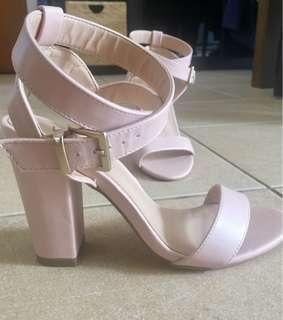 Verali Pink Nude Block Heels Size 7