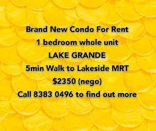 1 bedroom at Lake Grande for rental. 5mins walk to Lakeside MRT