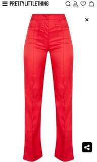 Red High Waisted Straight Leg Pants
