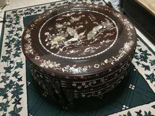 Chinese/ Peranakan Vintage Wooden Round Table & Chairs.
