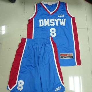 地利亞修女紀念學校(月華) 籃球校隊 Dos 紅藍色 球衣褲 波衫褲 8號 DMSYW basketball jersey set