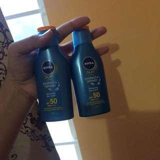 Nivea Sunscreen one is unused one is 98%