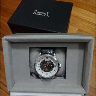 🚚 Arbutus Black Tie Skeleton Men's Black Leather Strap Watch AR613TRWB