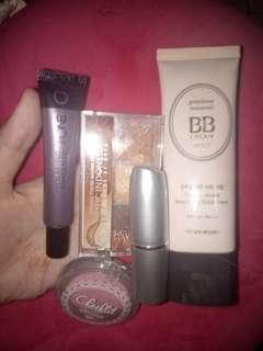 Paket makeup lengkap bb cream etude eyeshadow sariayu wardah lipmatte concealer oriflame blushon wardah