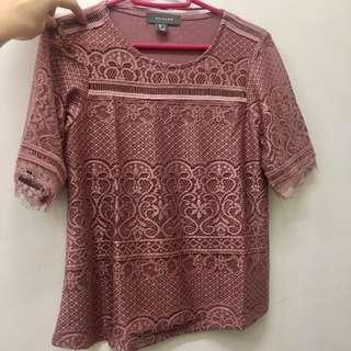 Primark pink lace tee