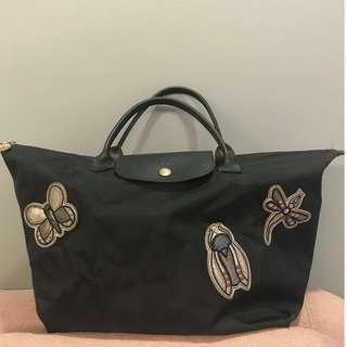 Authentic Limited Edition Longchamp Le Pliage Insect Badges Bag (free gift)