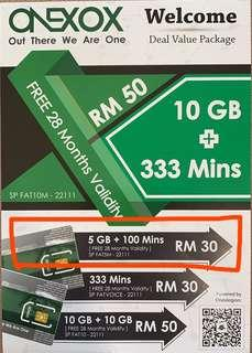🚚 5GB + 100 min - OneXOX Welcome Package (RM30)