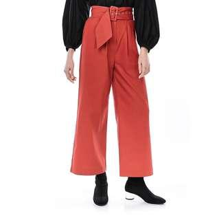 The Editors Market Red Gwena Belted Wide-leg Pants