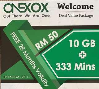 🚚 10GB + 333 mins - OneXOX Welcome Package (RM50)