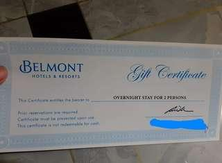 Belmont Hotels & Resorts Gift Certificate + Free 1k GC for Food and Beverages in Resorts World Manila